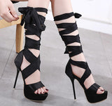 Straps Wraps Cut Out Open Toe Platform Stiletto High Heels Sandals