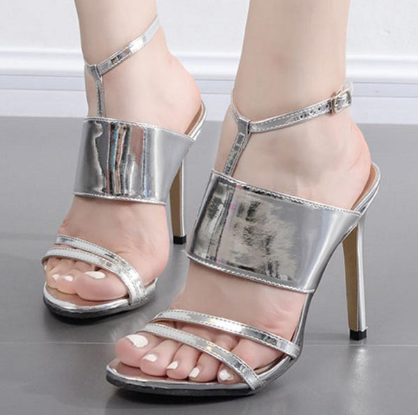 Straps Shinning Ankle Wrap Open Toe Stiletto High Heel Sandals