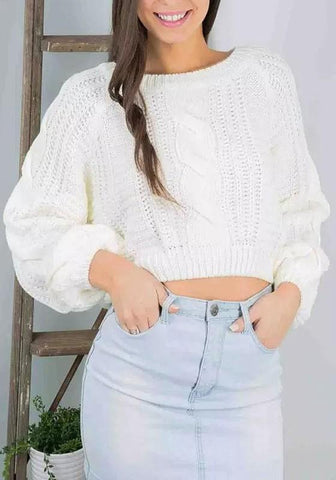 New White Crop Round Neck Lantern Sleeve Pullover Sweater