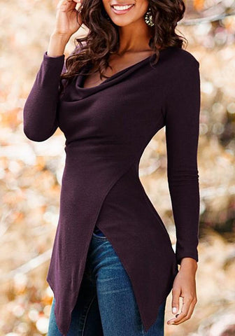 Purple Cut Out Irregular Ruffle Round Neck Casual T-Shirt