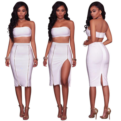 Strapless Crop Top with Zipper Knee-length Back Split Skirt Two Pieces Set