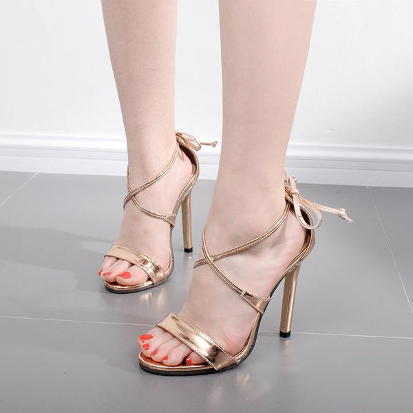 Straps Cross Ankle Lace Up Open Toe High Heels Sandals