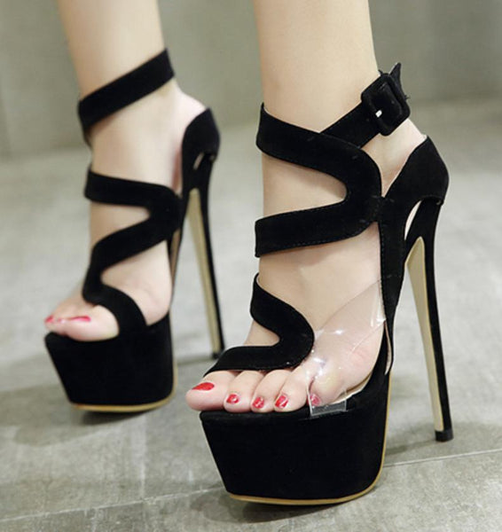 Straps Cut Out Open Toe Platform Ankle Wrap Stiletto High Heels Sandals