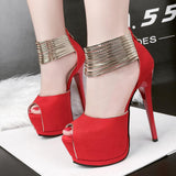 Ankle Straps Wrap Peep Toe Peep Toe High Platform Stiletto High Heels