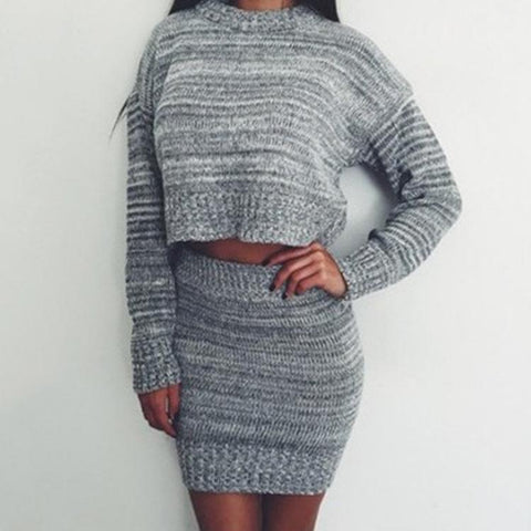 Pullover Short Sweater with Short Knit Skirt Two Pieces Set