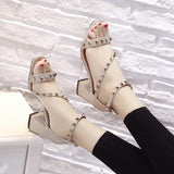 Open Toe Rivets Ankle Wrap Low Chunky Heels Sandals