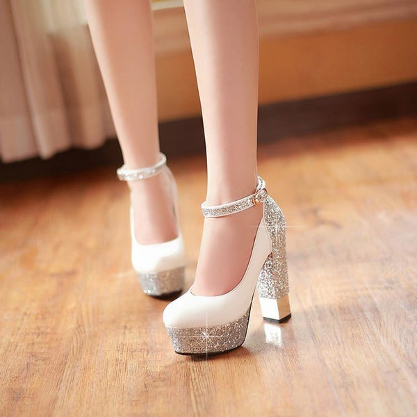 Shinning Rhinestone Platform Round Toe Low Cut Ankle Wrap High Chunky Heels Prom Shoes