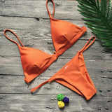 Pure Color Sexy Spaghetti Straps Low Waist Bikini Set