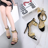 Stiletto Heel Peep-toe Suede Zipper Sandals