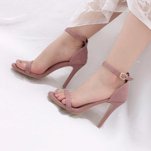 Solid Color Open Toe Ankle Wrap High Stiletto Heels Sandals