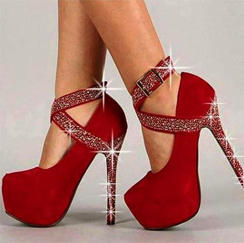 Crystal Ankle Wraps Cross Platform Stiletto High Heels