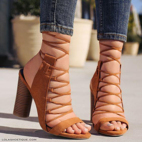 Ankle Straps Cross Open Toe High Chunky Heels Sandals