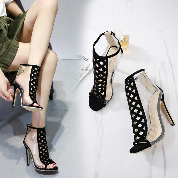 Hollow Out Stiletto Heel Transparent Short Boot Sandals