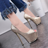 Plaid Peep Toe Platform Super High Stiletto Heel Sandals Club Shoes