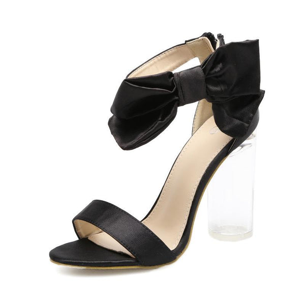 Peep-toe PU Chunky Heel Bowknot Decorate Ankle Strap Sandals