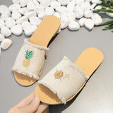 Print Pattern Open Toe Flat Slippers Sandals