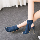 Canvas Cut Out Peep Toe Stiletto High Heel Short Boot Sandals