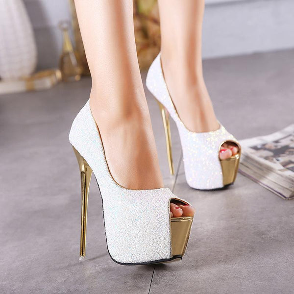 Rhinestone Peep Toe Platform Stiletto High Heels Party Shoes