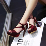 Crystal Bowknot Decoration Peep Toe Ankle Wrap High Heels Sandals