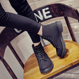 European British Style Lace UP Round Toe Low Block Heel Ankle Martin Boots