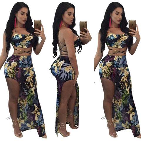 Print Backless Cross Crop Top with Split Irregular Long Skirt Two Pieces Set