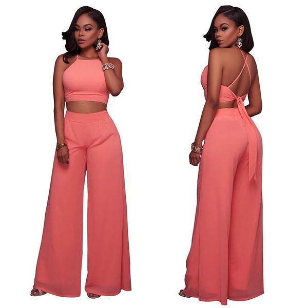 Pure Color Bear Shoulder Crop Top with Wide-Legs Pants Two Pieces Set