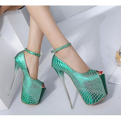 Super High Platform Peep Toe Ankle Wrap Super High Stiletto Heels