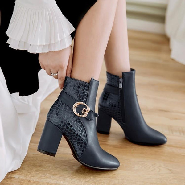 Pointed Toe Patchwork Hasp Middle Chunky Heels Short Boots