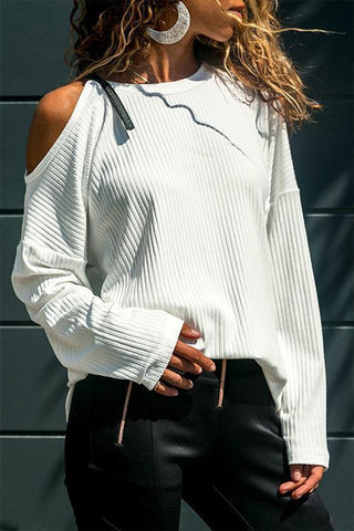 Onlinechoic Casual Long Sleeve Dew Shoulder T-shirt
