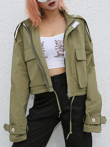 New Green Drawstring Pockets Band Collar Casual Long Sleeve Fashion Jacket Coat