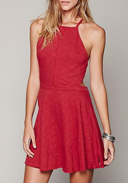 Red Pleated Backless Tie Back Round Neck Sleeveless Mini Dress