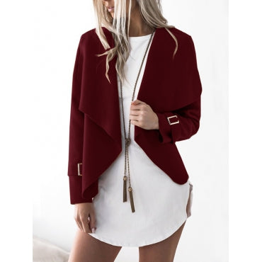 New Women Euramerican Turndown Collar Long Sleeves Asymmetrical Polyester Jacket