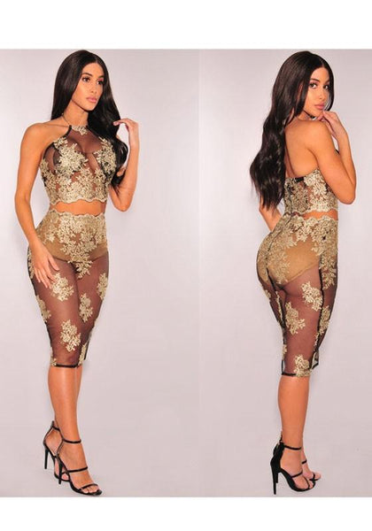 Black-Golden Flowers Embroidery Zipper Halter Neck See-through Bodycon Clubwear Midi Dress