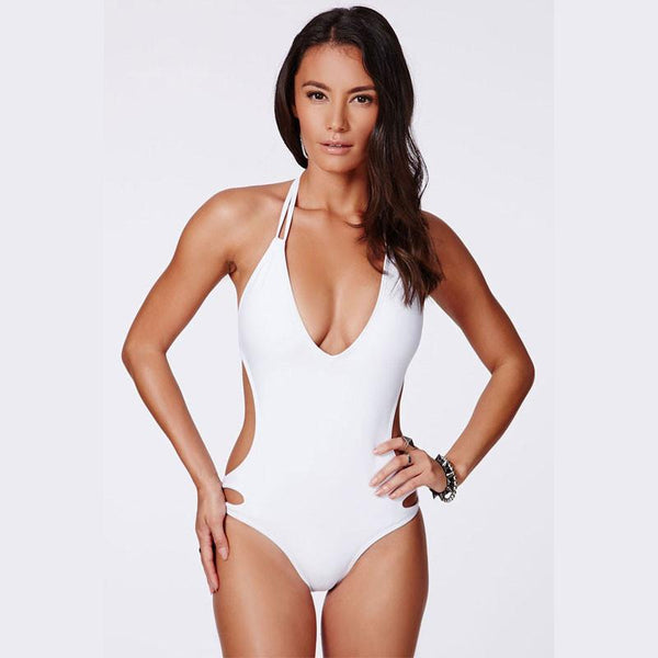 Sexy Halter Backless Hollow Out One Piece Swimwear