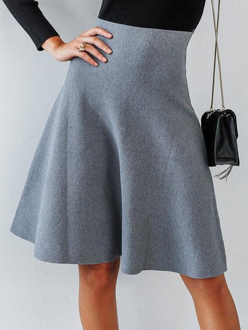 Dark Grey Elastic Waist High Waisted Going out Skirt