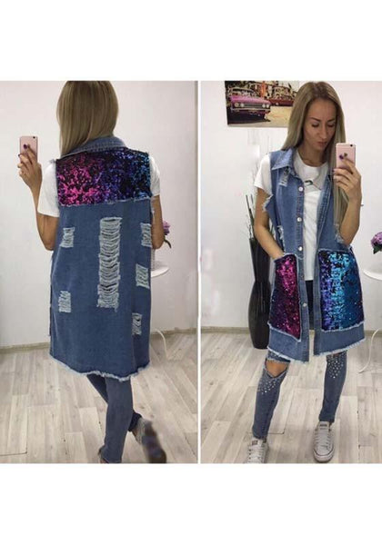 Blue Sequin Pockets Single Breasted Cut Out Turndown Collar Vest