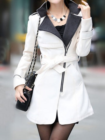 Onlinechoic White Pockets Sashes Zipper Band Collar Long Sleeve Elegant Coat