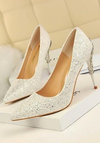 New White Point Toe Stiletto Sequin Fashion High-Heeled Shoes