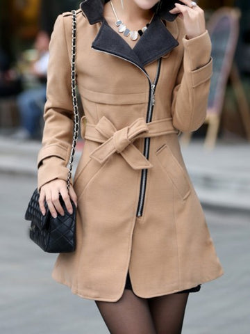 Onlinechoic Khaki Pockets Sashes Zipper Band Collar Long Sleeve Elegant Coat