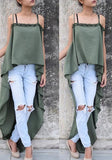 Army Green Condole Belt Irregular Backless Draped Fashion Vest
