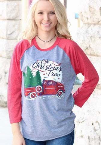Red Christmas Tree Monogram Print Round Neck 3/4 Sleeve Casual T-Shirt