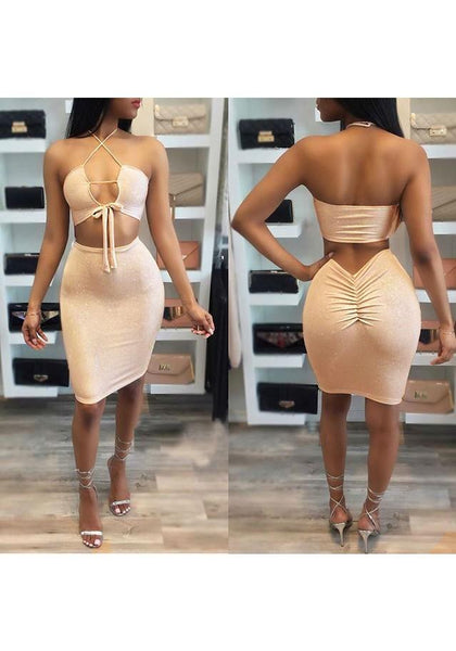 New Women Lace-up Spaghetti Strap Off Shoulder Backless Tie Back Halter Neck Mini Dress