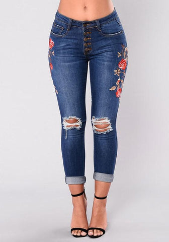 New Blue Floral Cut Out Embroidery High Waisted Long Jeans
