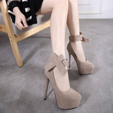 Ankle Bowknot Strap Round Toe Low Cut Stiletto High Heels