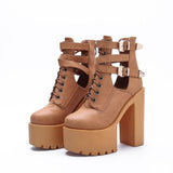 High Platform Cut Out Hasp Lace High Chunky Heels Short Martin Boots