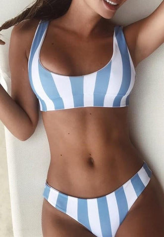 Blue Striped Print Shoulder-Strap Two Piece Backless Beachwear Sweet Swimwear