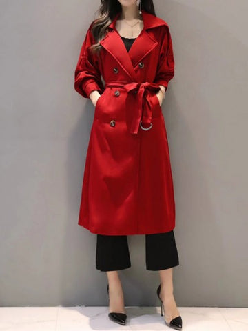 Onlinechoic Red Pockets Buttons Sashes Double Breasted Turndown Collar Long Sleeve Elegant Coat