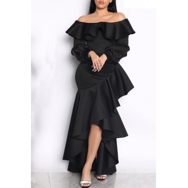 Sweet Hubble-bubble Sleeves Flounce Design Black Ankle Length Dress