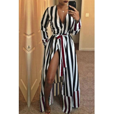 Casual Striped Patchwork Black Floor Length Dress