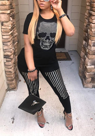 Black Skull Rhinestone Round Neck Fashion T-Shirt